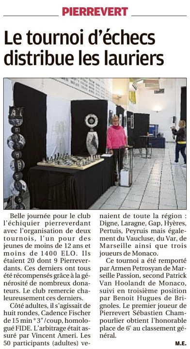 Article La Provence 22/04/2018